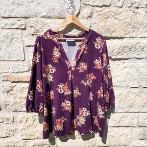 ⭐️ French Grey Purple Floral Rose Blouse